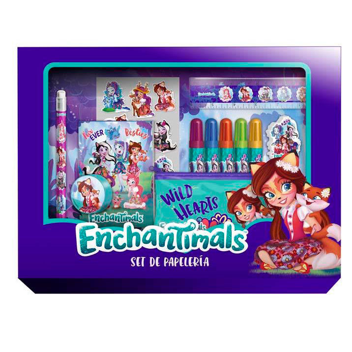 Kit Mochila Carrinho Infantil Escolar Enchantimals