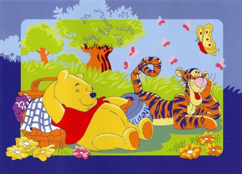 tapete winnie the pooh tigre e borboleta loja da crian a. Black Bedroom Furniture Sets. Home Design Ideas