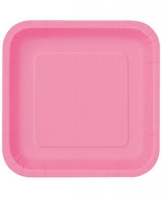 16 Pratos Rosa Choque Quadrados 18cm
