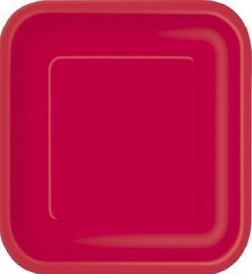 16 Pratos Vermelhos Quadrados 18cm