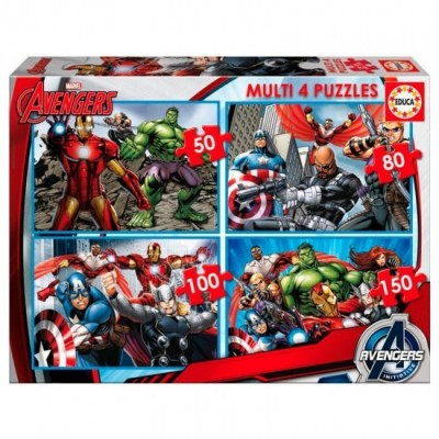 4 Multi Puzzles Marvel Avengers 50-80-100-150