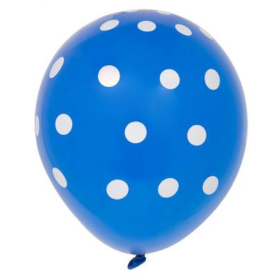 6 Balões látex Azul Royal bolinhas