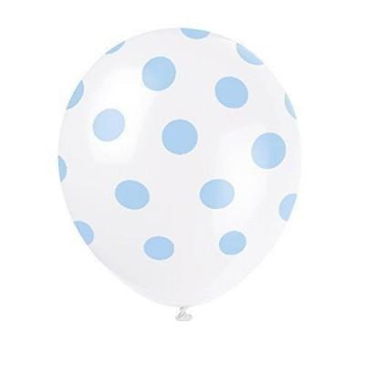 6 Balões Látex Bolinhas Azuis 12