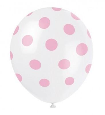 6 Balões Látex Bolinhas Rosa 12