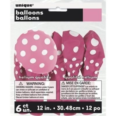 6 Balões látex Fushia bolinhas