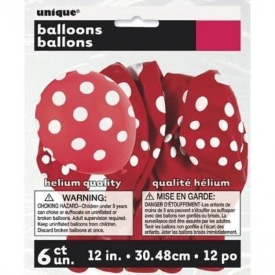 6 Balões látex Vermelho bolinhas