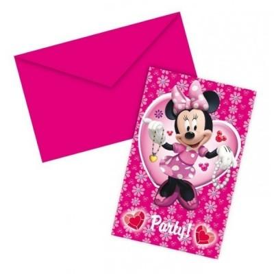 6 Convites Minnie Mouse