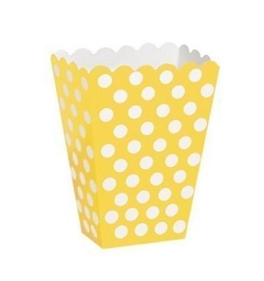 8 Balde Pipocas Bolinhas amarelas