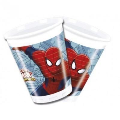 8 Copos Festa Spiderman Web Warriors