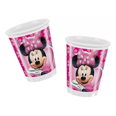 8 Copos rosa Minnie Mouse