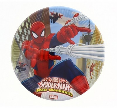 8 Pratos Festa 23cm Spiderman Web Warriors