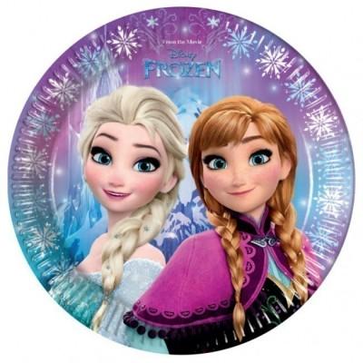 8 Pratos festa Frozen Lights 23 cm