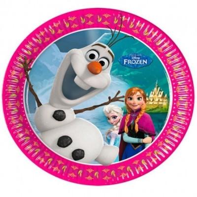 8 Pratos festa Frozen Olaf 20 cm