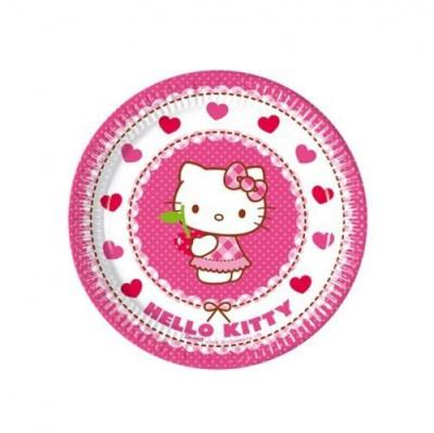 8 Pratos Festa Hello Kitty 20cm