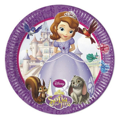 8 Pratos Festa Princesa Sofia 23 cm