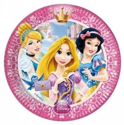 8 Pratos festa Princesas Disney 23 cm
