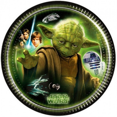 8 Pratos festa Yoda Star Wars 20 cm