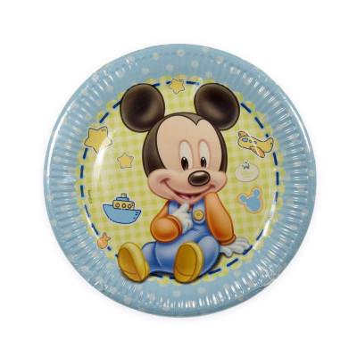 8 Pratos Mickey Bebé 23cm