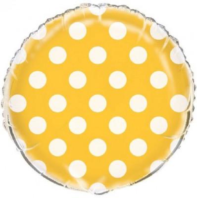Balão Amarelo Bolinhas Metalizado 45cm