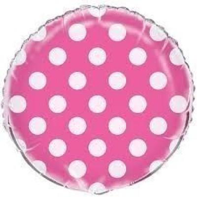 Balão Foil Fúchsia bolinhas 45 cm