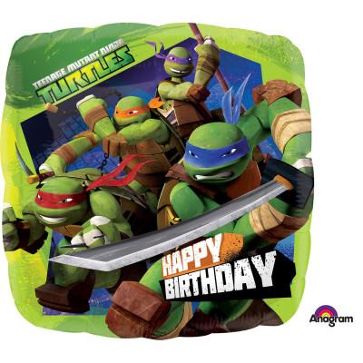 Balão Foil Ninja Tartarugas Happy Birthday 43cm
