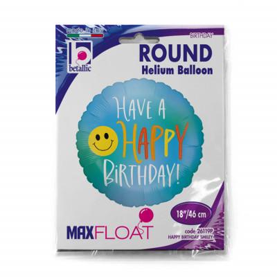 Balão Foil Smiley Happy Birthday 46cm