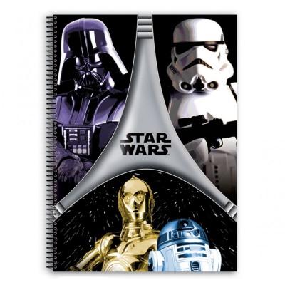 Caderno quadriculado Star Wars Flash A4 80 folhas