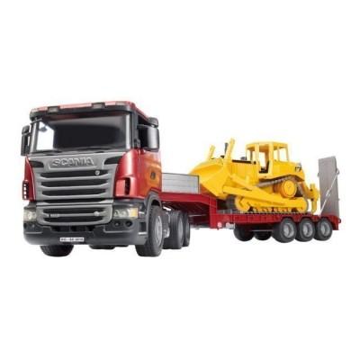 Camião Scania com atrelado e Bulldozer CAT da Bruder