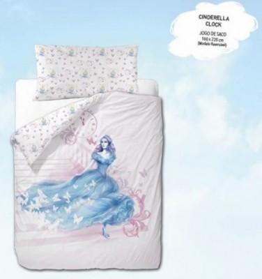 Capa edredon Reversível Cinderella  Clock 160x220cm