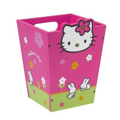 Cesto de Papéis Madeira Hello Kitty