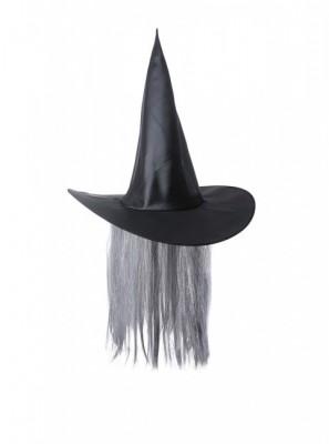 Chapéu de bruxa ou bruxo mago com cabelo