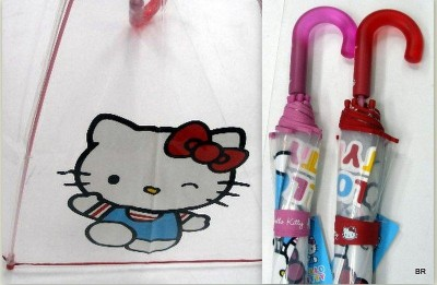 Chapéu de chuva hello kitty transparente