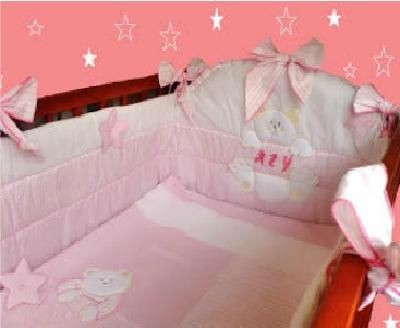 Conj 6 elementos Cama de grades Estrelinha rosa