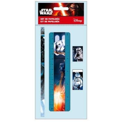 conjunto 4 artigos azul de papelaria Star Wars