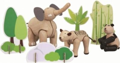 Conjunto animais madeira Ásia
