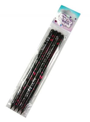 Conjunto de 4 lápis violetta carvão com diamante