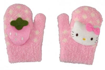 Conjunto de cachecol e luvas hello kitty moranguinho rosa ou vermelho