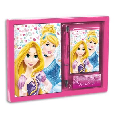 Conjunto diario+bloco+caneta Princesas Disney