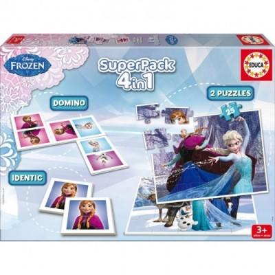 Conjunto Jogos Didatico Frozen Disney 4 em 1