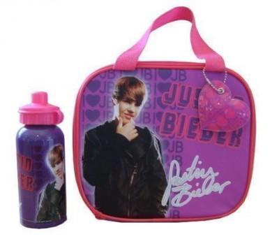 Conjunto Lancheira térmica e cantil Justin Bieber