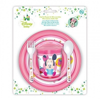 Conjunto refeição Micro ondas Minnie Baby 5 Pçs