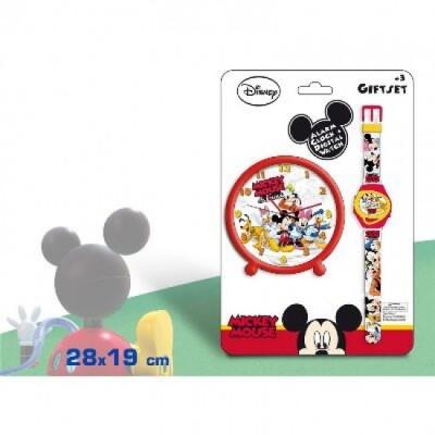 Conjunto relogio despertador + pulso digital Mickey Fun