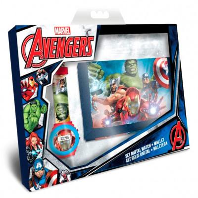 Conjunto Relógio Digital + Carteira Avengers