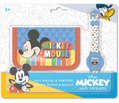 Conjunto Relógio Digital + Carteira Mickey Disney