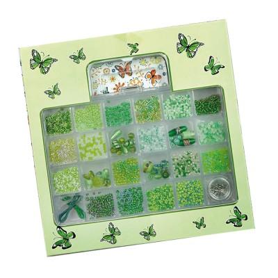 Conjunto Verde Missangas Cristal