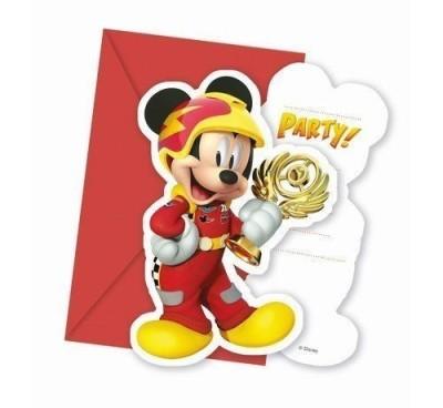 Convites Mickey Super Pilotos - 6 Und
