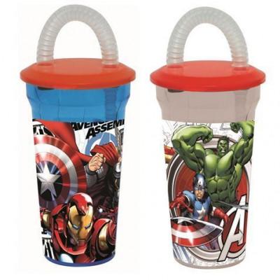 Copo tampa + palhinha Marvel Avengers