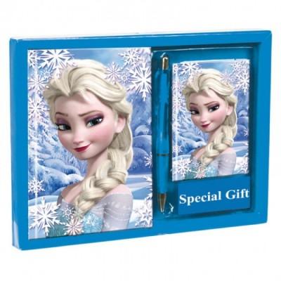 Diario + bloco + caneta Frozen Elsa