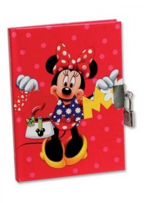 Diario Minnie com Cadeado Red