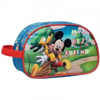Estojo escolar c/ asa Mickey & Pluto Best Friends